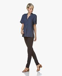 Repeat Viscosemix Jersey Pantalon - Donkerblauw