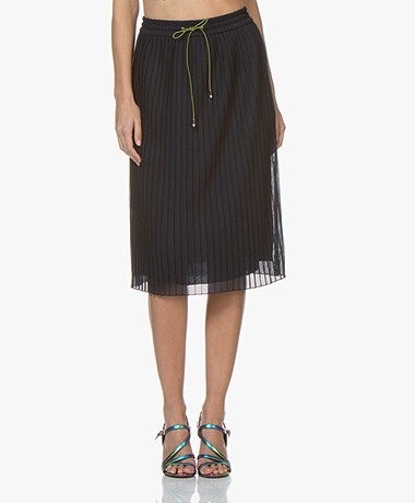 HUGO Replissa Pleated Mesh Skirt - Dark Blue
