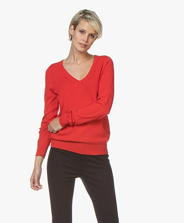 Repeat Cotton Blend V-neck Pullover - Red