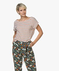 Petit Bateau Lurex Striped Linen Blend T-shirt - Marshmallow/Copper