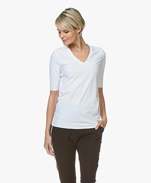 JapanTKY Lyo Travel Jersey V-hals T-shirt - Wit