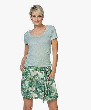 Majestic Filatures Linnen U-hals T-shirt - Jade