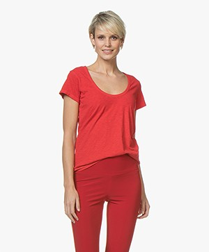 Rag & Bone Pima Katoenen U-hals T-shirt - Rose Petal