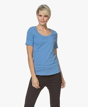 Repeat Katoenen T-shirt met Ronde Hals - Blue Jeans