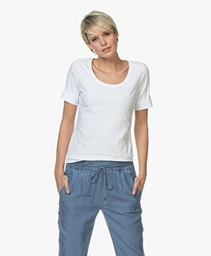 Repeat Katoenen T-shirt met Ronde Hals - Wit