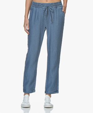 Repeat Loose-fit Chambray Broek - Indigo