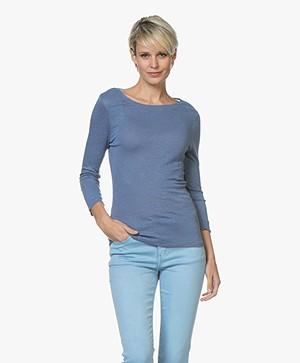Belluna Azzurra Linnen T-shirt met Driekwart Mouwen - Jeans
