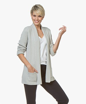 Belluna Kara Open Cardigan with Shawl Collar - Grey