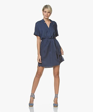 Repeat Tencel Tunic Dress with Short Sleeves - Dark Blue