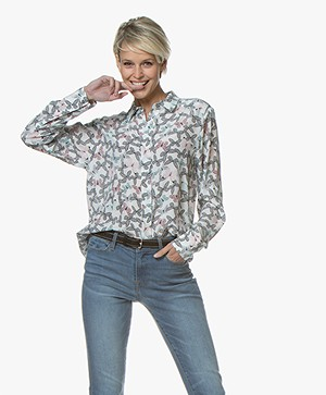 Repeat Zijden Print Blouse - Butterfly