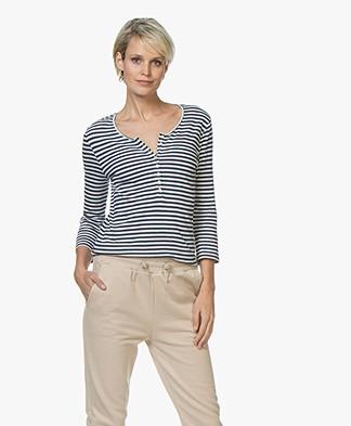 Belluna Amico Striped Henley T-shirt - Blue/White