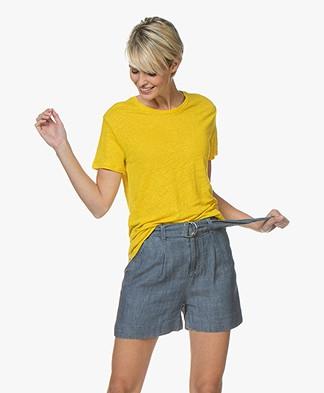 Denham Naval Linen T-shirt - Sulphur