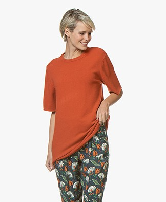 extreme cashmere N°64 Long Knitted T-shirt - Dark Orange