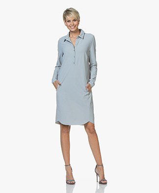 JapanTKY Zwi Travel Jersey Shirt Dress - Soft Grey Blue
