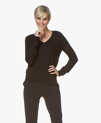 Repeat Cotton Blend V-neck Pullover - Black