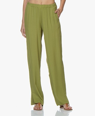 LaSalle Viscose Crêpe Straight Leg Pants - Green