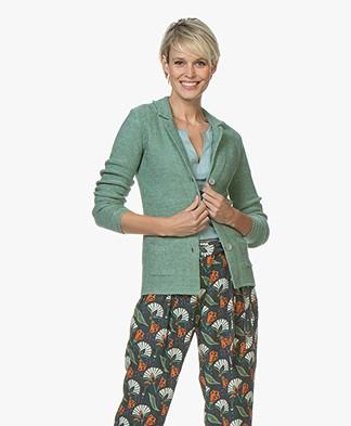Belluna Cassoni Linen Blend Knitted Blazer - Green