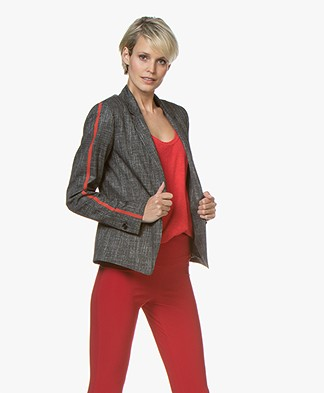 HUGO Afrones Tweed Blazer met Bies - Open Miscellaneous
