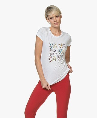 Zadig & Voltaire Skinny Ça Va Print T-shirt - Wit