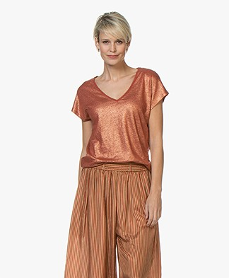 Petit Bateau Linen T-shirt with Coating - Copper