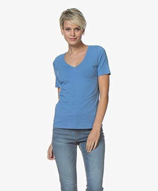 Repeat Stretch-Cotton V-neck T-shirt - Blue Jeans