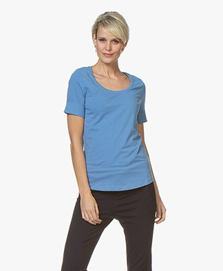 Repeat Cotton Scoop Neck T-shirt - Blue Jeans