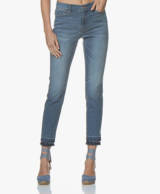 Repeat Raw-hem Skinny Jeans - Light Blue