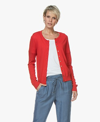 Repeat Classic Short Cotton Blend Cardigan - Red