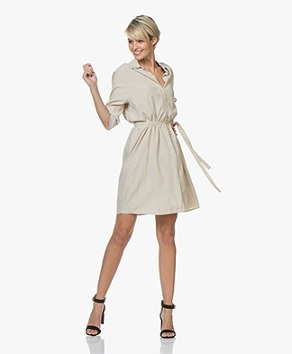 Repeat Viscose Micro Dots Shirt Dress - Light Beige