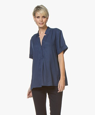 Repeat Tencel Short Sleeve Blouse - Dark Blue