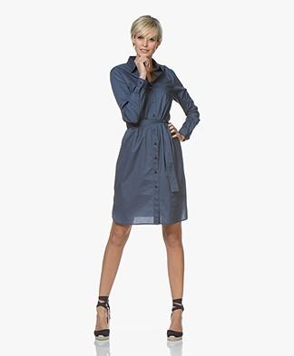 no man's land Cotton Shirt Dress - Vintage Blue