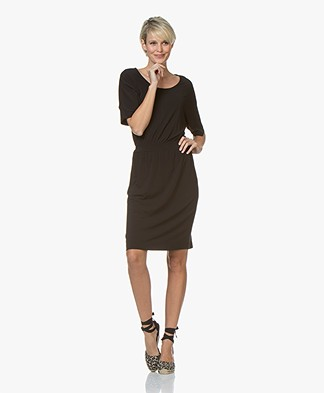 no man's land Knee-length Crepe-jersey Dress - Core Black