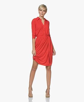 no man's land Crepe Jersey Shirt Dress - Red