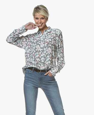 Repeat Silk Print Shirt - Butterfly