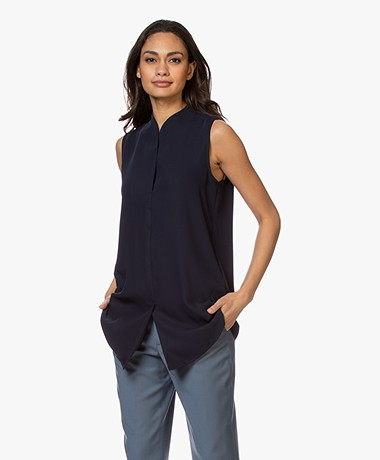 Woman By Earn Lot Sleeveless Blouse - Navy