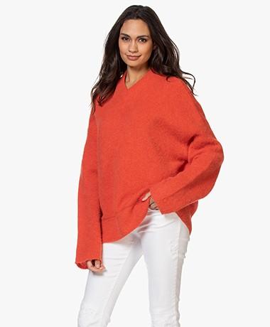 Filippa K Laurel Alpacamix V-hals Trui - Red Orange