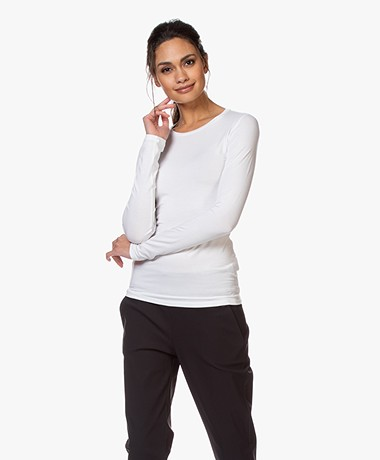 Majestic Filatures Ally Round Neck Long Sleeve - White