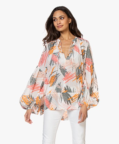 Closed Devon Katoenen Voile Printblouse - Ivoor