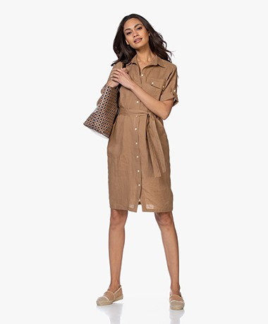 LaSalle Linen Safari Shirt Dress  - Caramel