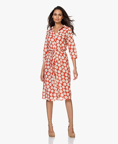 Kyra & Ko Bep Viscose Print Shirt Dress - Red