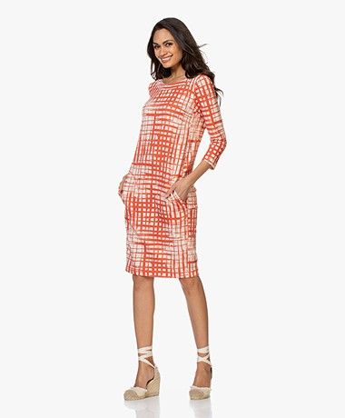 Kyra & Ko Zinzy Printed French Terry Dress - Red