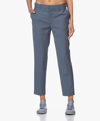Filippa K Emma Cropped Cool Wool Pantalon - Vergrijsd Blauw