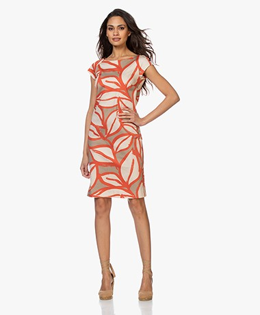 Kyra & Ko Misja Dress with Leaf Print - Khaki