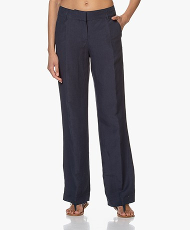 Kyra & Ko Pauleen Straight Pants in Tencel and Linen - Graphite