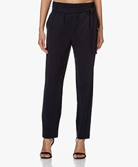 Woman by Earn Maddy Tech Jersey Paperbag Pants - Navy