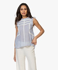 indi & cold Ruffle and Lace Top - Blue/White