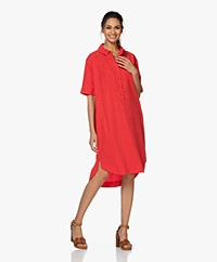 JapanTKY Yuriko Tencel Short Sleeve Shirt Dress - Japanese Red
