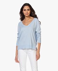 Josephine & Co Brooklyn Tencel Blend V-neck Sweater - Light Blue