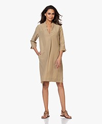 Kyra & Ko Ivana Tunic Dress in Tencel and Linen - Khaki