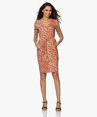 Kyra & Ko Juno Jersey Print Dress - Khaki